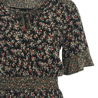 ruffle hem detail floral dress